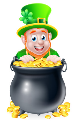 Leprechaun cartoon St Patricks Day character peeking over a pot of gold