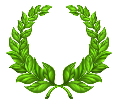 A laurel wreath design element illustration of a circular green wreath made up of two branches
