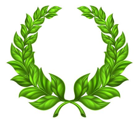 Una corona de laurel ilustración elemento de diseño de una corona circular verde compone de dos ramas
