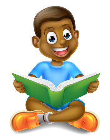 Un cartone animato ragazzino nero seduto gambe incrociate godendo la lettura di un libro