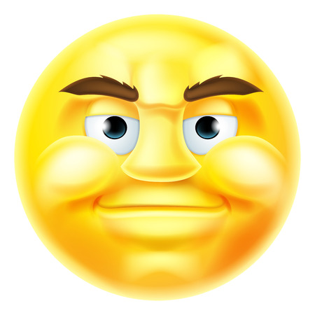 A happy smiling handsome cartoon emoji emoticon smiley face character