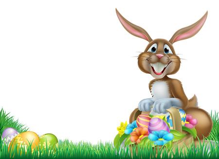 lapin de Pâques avec un panier plein de décoration des ?ufs de Pâques au chocolat dans un champ