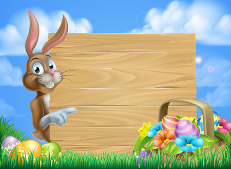 Cartoon Easter bunny and Easter basket full of Easter eggs background Stock fotó - 50898931