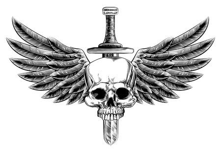 Illustration originale de vintage crâne de style de gravure sur bois et de l'épée avec un oiseau aigle ou des ailes d'ange