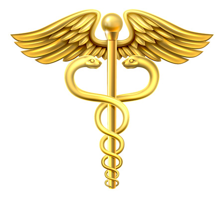 A gold caduceus medical symbol or symbol for commerce featuring intertwined snakes around a winged rod