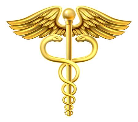 Un símbolo médico del caduceo de oro o un símbolo para el comercio que ofrecen el serpientes entrelazadas alrededor de una barra de alas Ilustración de vector