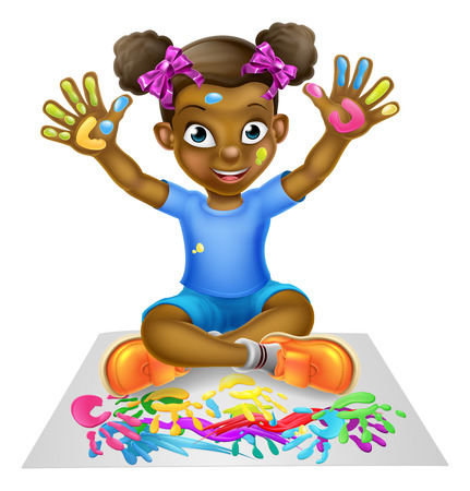 A happy cartoon little black girl being creative playing with paint