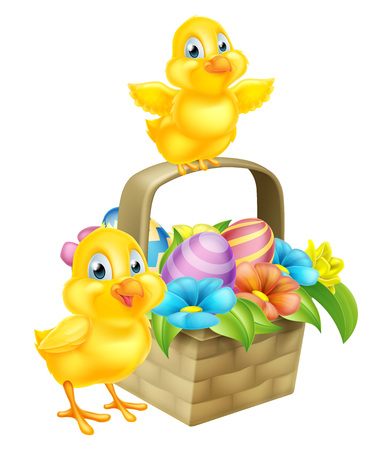 Cartoon Easter Chicks baby chicken birds, chocolate painted Easter Eggs and spring flowers in an Easter basket hamper