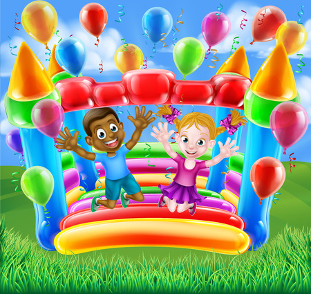 Two kids having fun jumping on a bouncy castle house with balloons and streamers
