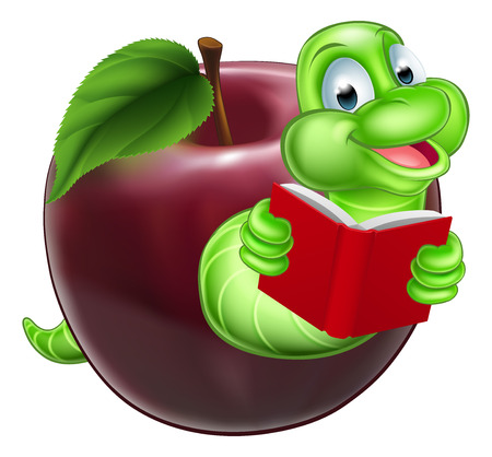 A happy smiling cute green cartoon caterpillar bookworm coming out of an apple and reading a book