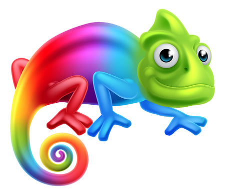 A cute cartoon rainbow coloured multicoloured chameleon lizard character