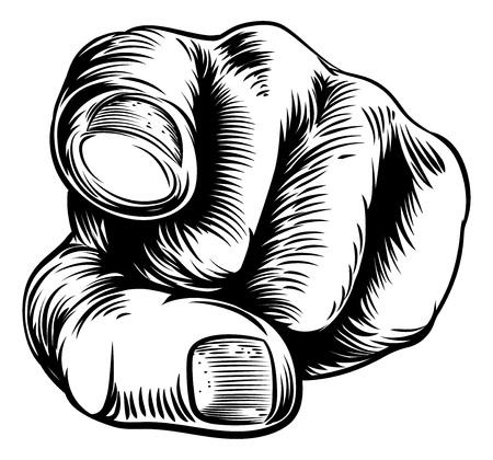 Houtsnede vintage stijl met de hand wijst met een vinger naar je in een wil u of heeft je nodig gebaar