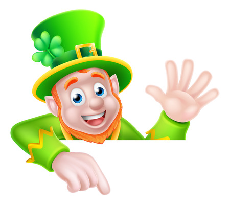 Leprechaun cartoon St Patricks Day character peeking above a sign pointing down at it and waving Ilustracja