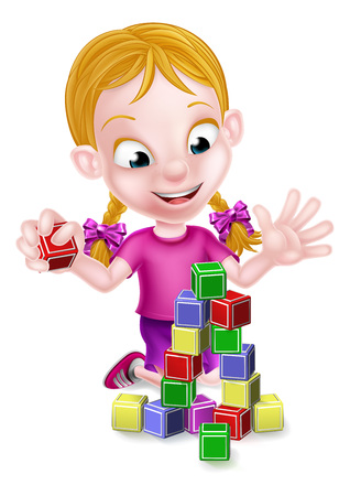 Cartoon girl playing with toy building blocks Stock Illustratie