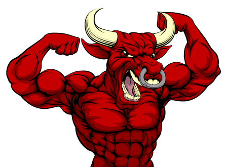 Cartoon mean strong red bull sports mascot
