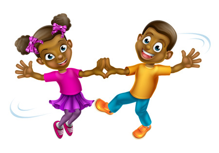 Two young cartoon children dancing