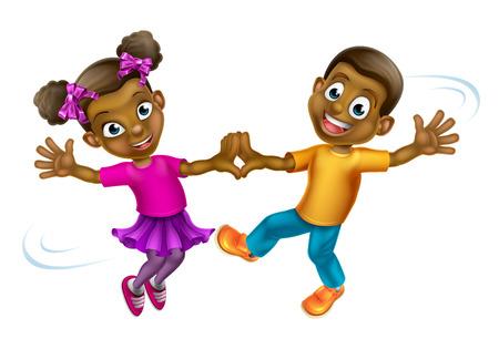 Twee jonge cartoon kinderen dansen Stock Illustratie