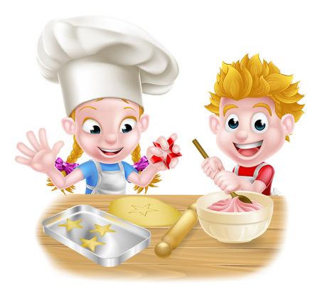 enfants Cartoon pâtisserie et la cuisine comme chefs dans la cuisine