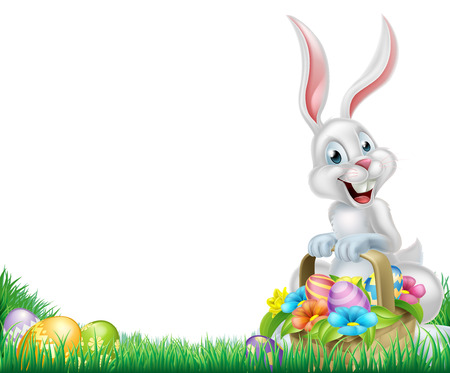 Cartoon easter scene. White Easter bunny with a basket full of decorated chocolate Easter eggs in a field