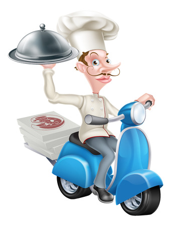 An Illustration of a Cartoon Chef on Scooter Moped Delivering Food Vector Illustration