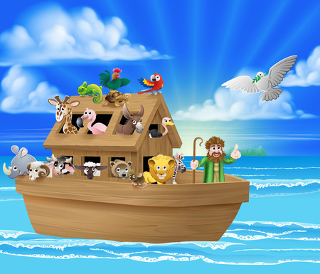 Cartoon childrens illustration of the Christian Bible story of Noah and his Ark with the white dove returning with the olive branch from emerging land in the distance