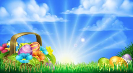Wielkanoc sceny. Koszyk pełen czekolady zdobionych pisanek i kwiatów w polu Ilustracje wektorowe