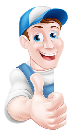 Thumbs up cartoon mechanic, plumber, handyman, decorator or gardener