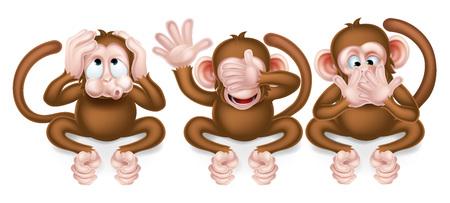 Trzy mądre małpy, nie słyszę nic złego, nie widzą zła, nie mówić zła Ilustracje wektorowe
