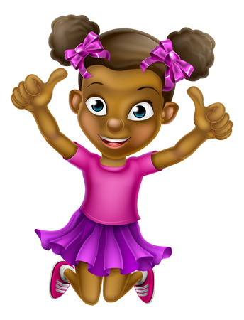 Happy cartoon young black girl jumping for joy with hands in the air doing a double thumbs up