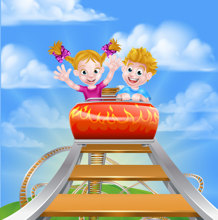 Cartoon boy and girl children riding on a roller coaster ride at a theme park or amusement park Çizim