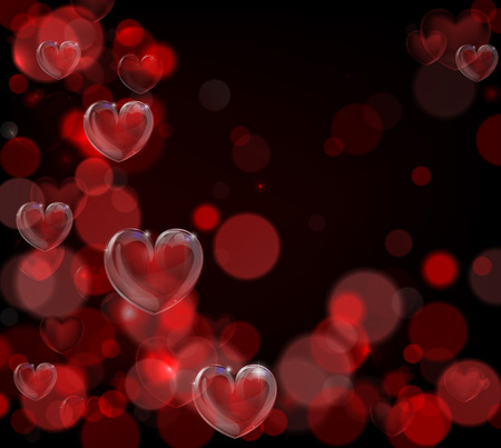 A red valentines day hearts background with bokeh effects