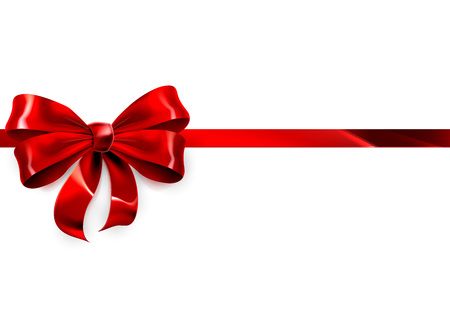 An illustration of a beautiful red ribbon and bow on a white Christmas, birthday or other gift