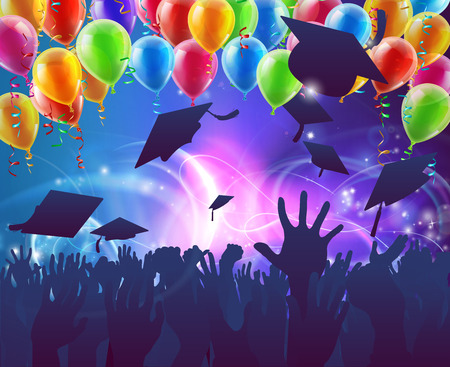 Graduation convocation crowd concept of student hands in silhouette throwing their mortar board caps celebrating with abstract background and balloons Vettoriali
