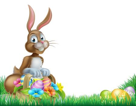 Conejo de Pascua con una cesta llena de huevos de Pascua de chocolate decoradas en un campo