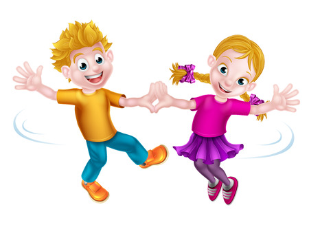 Two cartoon children, boy and girl, dancing