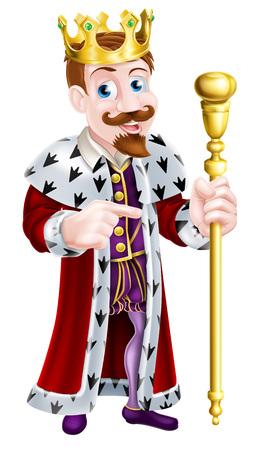 Cartoon König ein Zepter und einen Daumen nach oben
