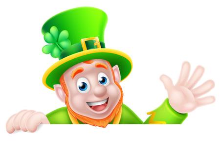Leprechaun cartoon character peeking above a sign and waving hello Vector Illustration