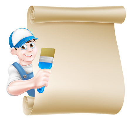 A cartoon painter decorator in a cap hat and blue dungarees holding a paintbrush tool and peeking around a scroll 일러스트