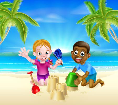 Kinder mit Eimer und Spaten Sandburgenbauen in den Sand an einem tropischen Strand mit Palmen