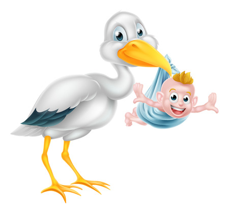 An illustration of a cartoon stork bird holding a newborn baby. Classic myth of stork bird delivering a new born baby