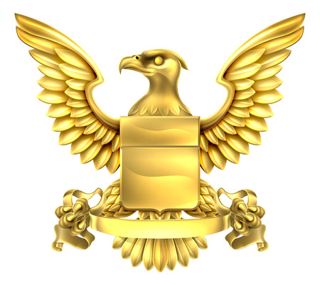 A eagle gold metal shield heraldic heraldry coat of arms design with a banner scroll. 일러스트
