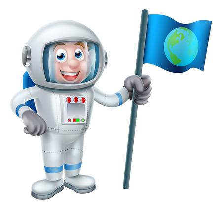 Una ilustración de una caricatura astronauta que sostiene una bandera con la tierra en ella