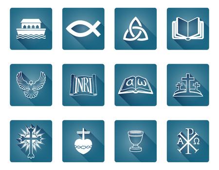 Un conjunto de iconos y símbolos religiosos cristianos, incluidos los peces y el arca de Noé s