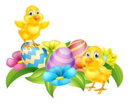 Fumetto sveglio pulcini di Pasqua, uova di Pasqua e fiori di primavera elemento di disegno del fumetto