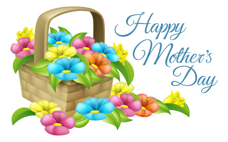A beautiful floral gift basket full of flowers with text reading Happy Mothers Day