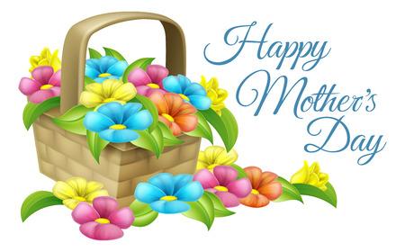 Een mooi geschenk mand vol bloemen met tekstlezing gelukkige Dag van Moeders Stockfoto - 51883176