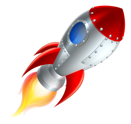 An illustration of a cartoon space rocket ship or space ship