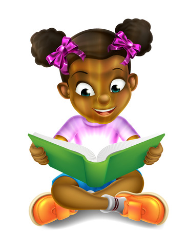 A happy cartoon little black girl enjoying reading an amazing book and using her imagination