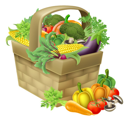 A vegetable food basket full of fresh produce and groceries
