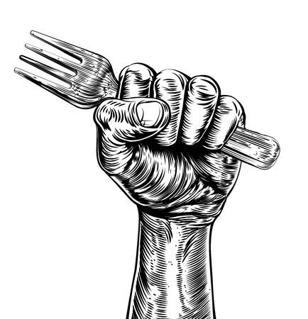 Un design originale di un pugno che tiene una forcella in stile xilografia epoca Vettoriali
